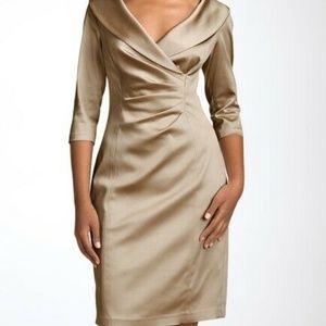 Kay Unger Stretch Satin Sheath Dress Beige Sz 14
